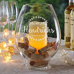 Mr. & Mrs. Engraved Glass Hurricane Holder