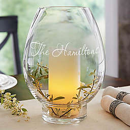 Classic Celebrations Name Glass Hurricane Holder