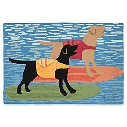 Liora Manne Surfboard Dogs Indoor/Outdoor Rug in Blue