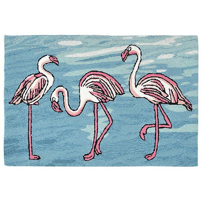Alternate image 1 for Liora Manne Flamingo 2-Foot 6-Inch x 4-Foot Indoor/Outdoor Area Rug in Blue