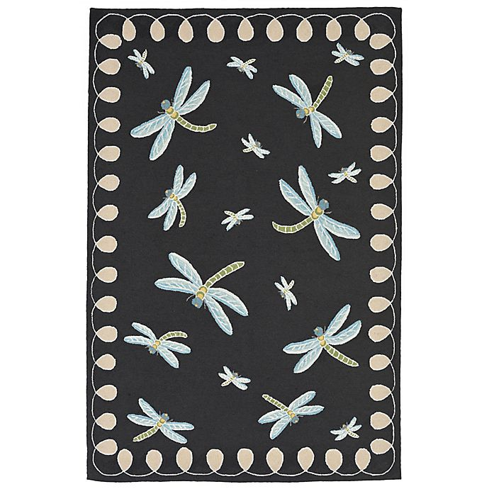 Alternate image 1 for Liora Manne Dragonfly 3-Foot 6-Inch x 5-Foot 6-Inch Indoor/Outdoor Area Rug in Midnight