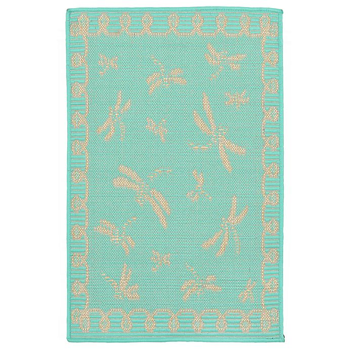 Alternate image 1 for Liora Manne Dragonfly 1-Foot 11-Inch x 2-Foot 11-Inch Indoor/Outdoor Accent Rug in Blue