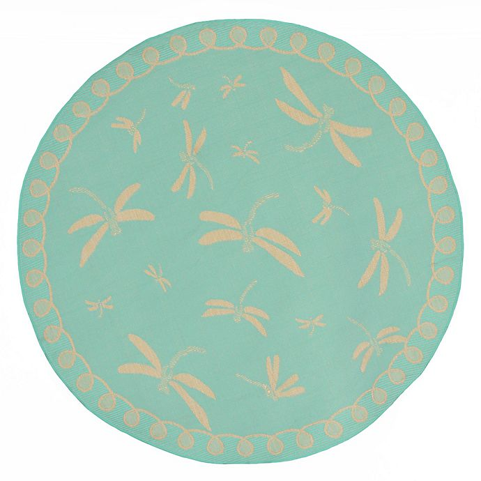 Alternate image 1 for Liora Manne Dragonfly 7-Foot 10-Inch Round Indoor/Outdoor Area Rug in Blue