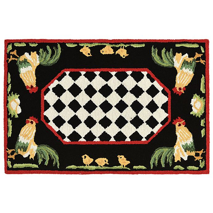 Alternate image 1 for Liora Manne Rooster 2-Foot x 3-Foot Indoor/Outdoor Accent Rug in Black