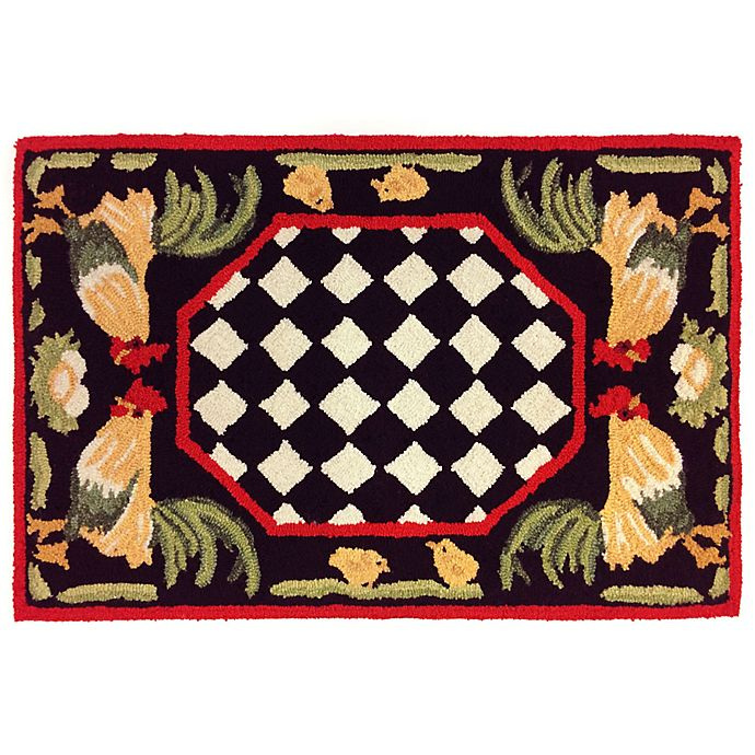 Alternate image 1 for Liora Manne Rooster 2-Foot 6-Inch x 4-Foot Indoor/Outdoor Accent Rug in Black