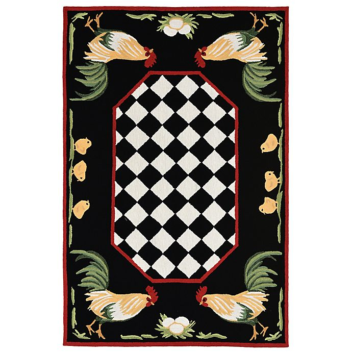 Alternate image 1 for Liora Manne Rooster 3-Foot 6-Inch x 5-Foot 6-Inch Indoor/Outdoor Area Rug in Black