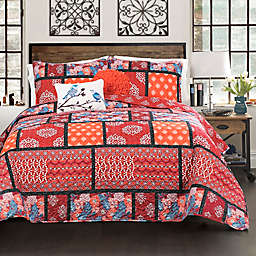 Lush Decor Meridian 5-Piece Reversible King Quilt Set in Red