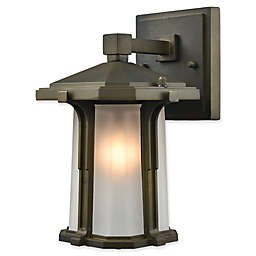 Elk Lighting Brighton 1-Light Outdoor Wall Sconce in Smoked Bronze with Copper Glass Shade