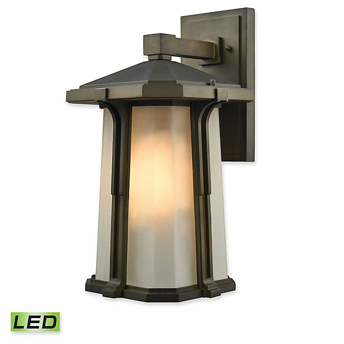 Alternate image 1 for Elk Lighting Brighton 16-Inch 1-Light LED Outdoor Wall Sconce in Smoked Bronze