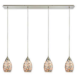 ELK Lighting Capri 4-Light Ceiling-Mount Pendant in Satin Nickel with Capiz Shell Shades