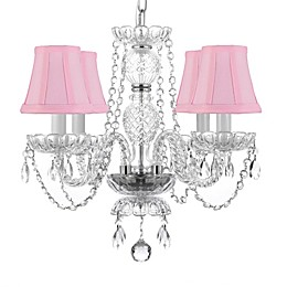 Gallery 4-Light Ceiling Mount Crystal Chandelier in Clear with Pink Shades