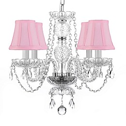 Gallery 4-Light Crystal Chandelier with Swarovski® Crystals and Pink Shades