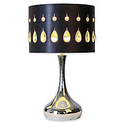 River of Goods Crystal Noir Table Lamp in Silver with Hardback Shade in Black
