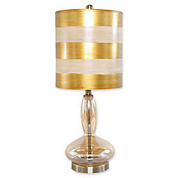 River Of Goods Art Deco Table Lamp in Gold with Fabric Shade with CFL Bulb