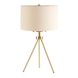 INK+IVY Pacific Tripod Table Lamp in Gold with Fabric Shade with CFL Bulb