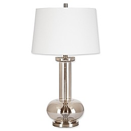 Madison Park Signature Irving Table Lamp in Silver with Hardback Shade in White