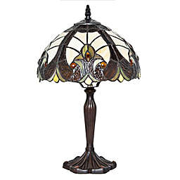 River of Goods Halston Bronze Table Lamp with Stained Glass Shade