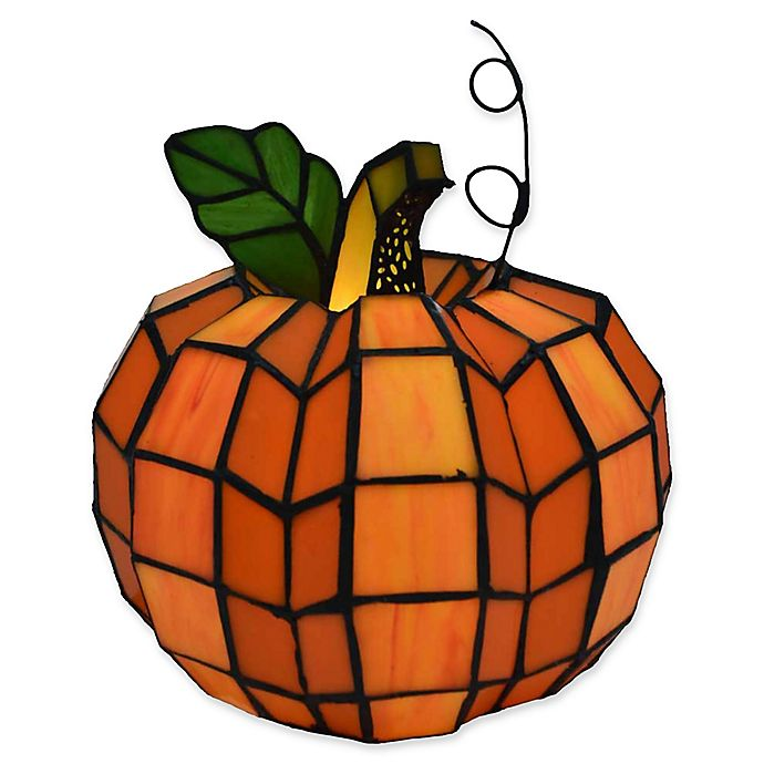 Alternate image 1 for River of Goods Patch the Pumpkin Stained Glass Table Lamp in Orange