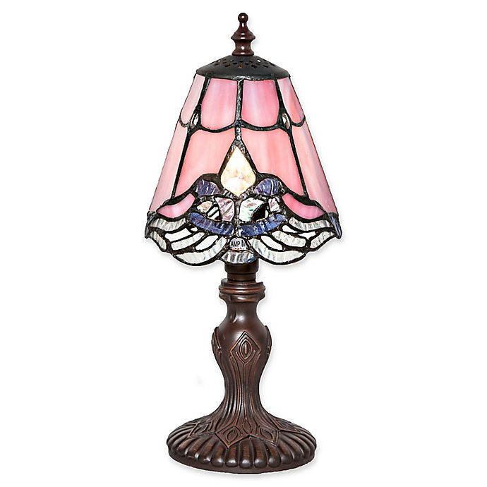 Alternate image 1 for River of Goods Stained Glass Crystal Lace Table Lamp in Pink