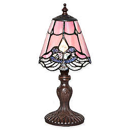 River of Goods Stained Glass Crystal Lace Table Lamp in Pink