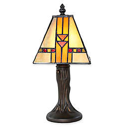 River of Goods Mini Mission Table Lamp in Bronze with Stained Glass Shade in Amber