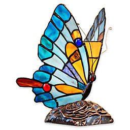River of Goods Stained Glass Butterfly Accent Lamp in Blue