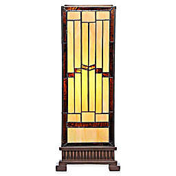 River of Goods Stained Glass Rustic Hurricane Lamp in Amber