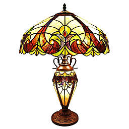 River of Goods Halston Stained Glass Table Lamp in Ivory
