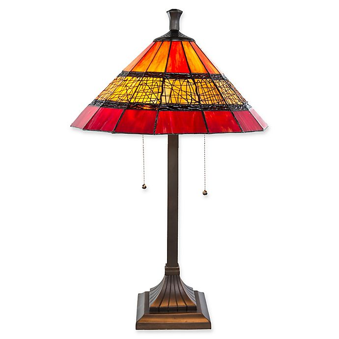 River Of Goods Craftsman Style Table Lamp With Red Stained Glass