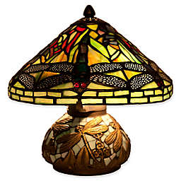 River of Goods Mini Dragonfly Table Lamp with Stained Glass Shade