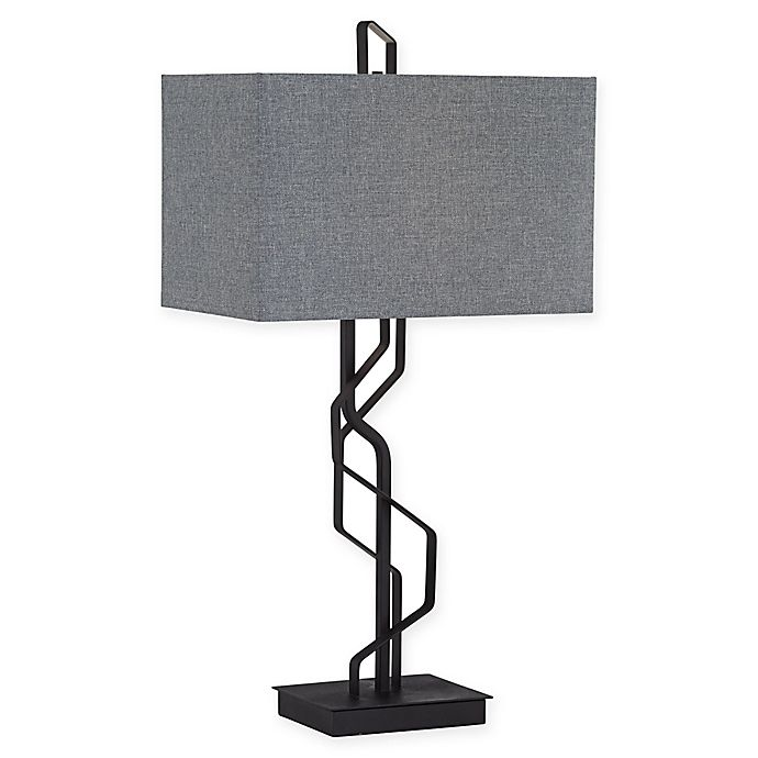 Alternate image 1 for Kathy Ireland® Studio Metal Flat Bar Table Lamp in Black
