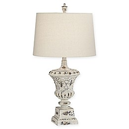 Pacific Coast Lighting Medusa Table Lamp in Antique White with Oatmeal Linen Shade