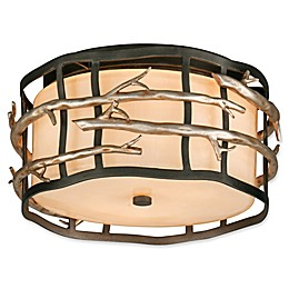 Troy Lighting Adirondack 2-Light Flush Mount Ceiling Light in Silver Leaf with Beige Linen Shade
