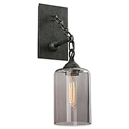 Troy Lighting Gotham 1-Light Wall Sconce in Aged Silver