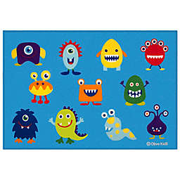 Olive Kids 3-Foot 3-Inch x 5-Foot Monsters Rug in Blue