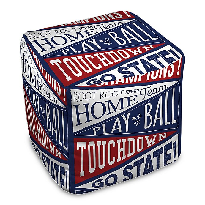 Alternate image 1 for Designs Direct Spirited Sports Pennants Ottoman in Blue
