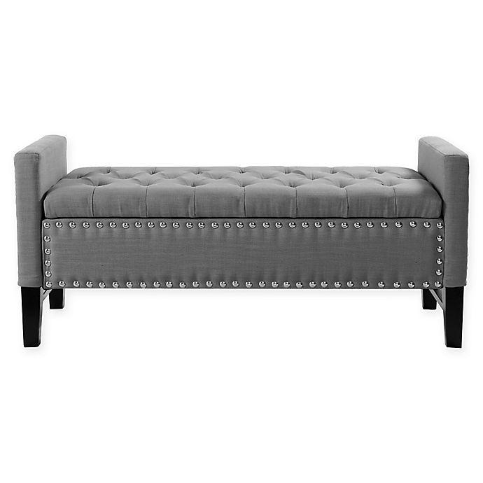 Alternate image 1 for Chic Home Michael Linen Bench in Dark Grey