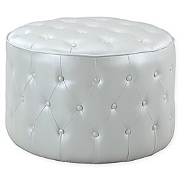 Chic Home Cliff Faux Leather Pouf Ottoman