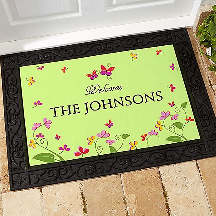 Alternate image 1 for Floral Welcome 20-Inch x 35-Inch Door Mat