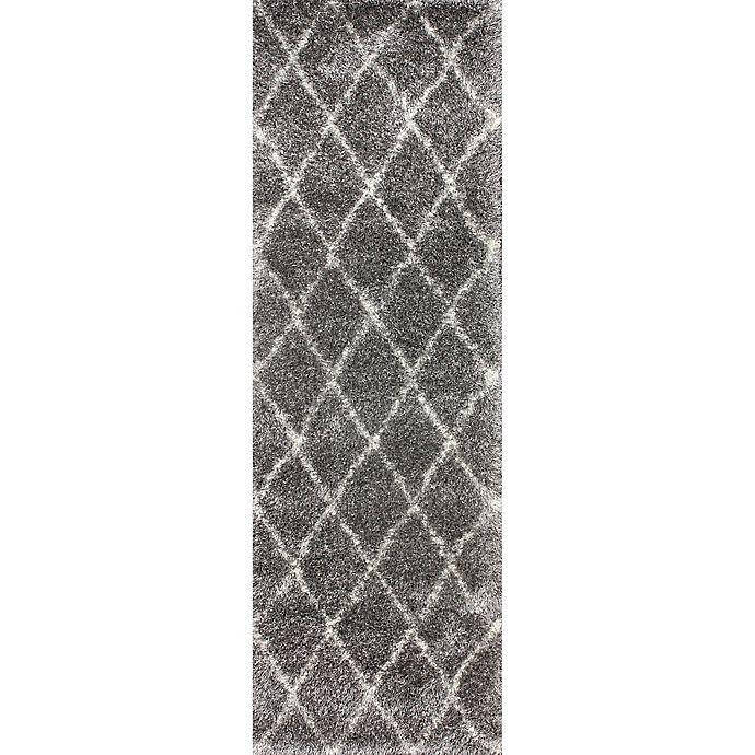 Alternate image 1 for nuLOOM Diamond Shag 2-Foot 8-Inch x 8-Foot Runner in Ash