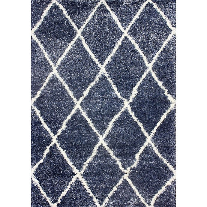 Alternate image 1 for nuLOOM Diamond Shag 5-Foot 3-Inch x 7-Foot 6-Inch Area Rug in Blue