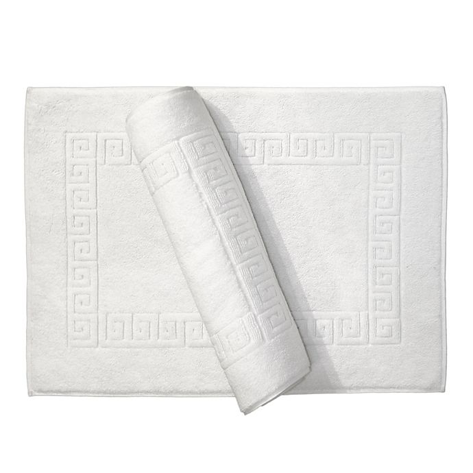 Alternate image 1 for Linum Home Textiles Greek Key Bath Mat in White (Set of 2)