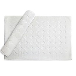 Linum Home Textiles Circle Design Bath Mat in White (Set of 2)