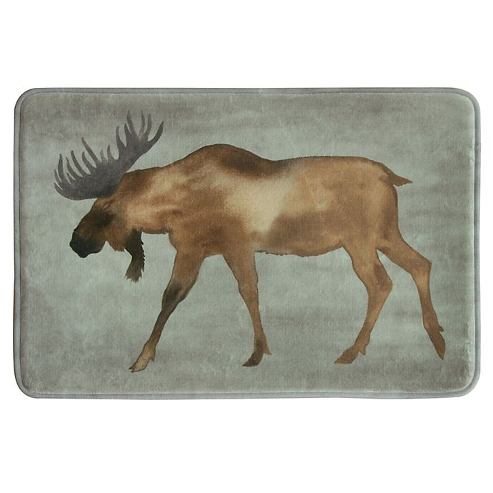 Alternate image 1 for Bacova 20-Inch x 30-Inch Moose Bath Rug in Brown