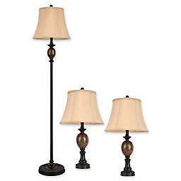 Décor Therapy 3-Piece Mae Table and Floor Lamp Set in Bronze