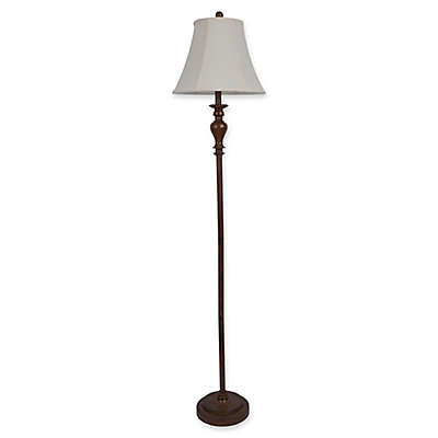 Décor Therapy  Walter Floor Lamp in Dark Wood with Fabric Shade