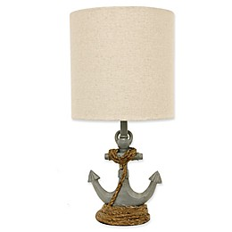 Décor Therapy Saylor Anchor Accent Lamp in Blue with Natural  Linen Shade