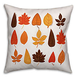 Designs Direct Fall Leaves Square Throw Pillow in White
