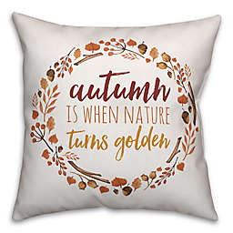 Designs Direct Golden Autumn Square Throw Pillow in White