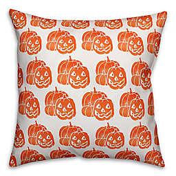 Designs Direct Jack-O-Lantern Square Throw Pillow in Orange